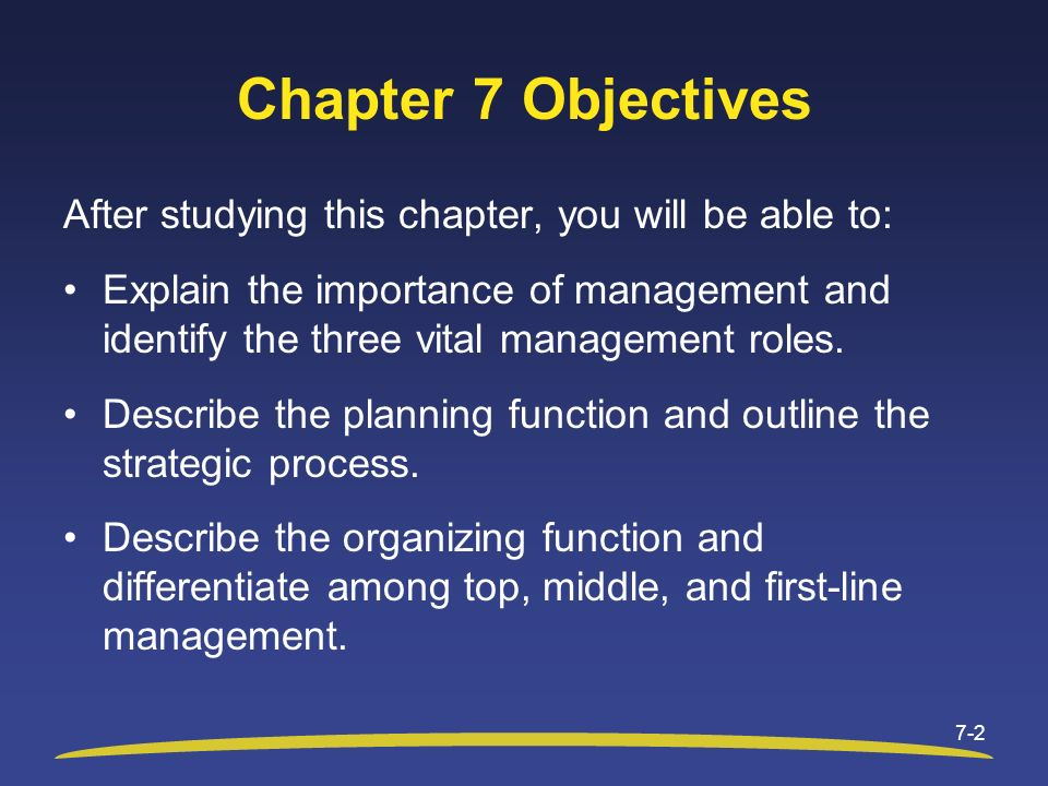 Chapter 7 Objectives After studying this chapter, you will be able to: Explain the importance of management and identify the three vital management ro