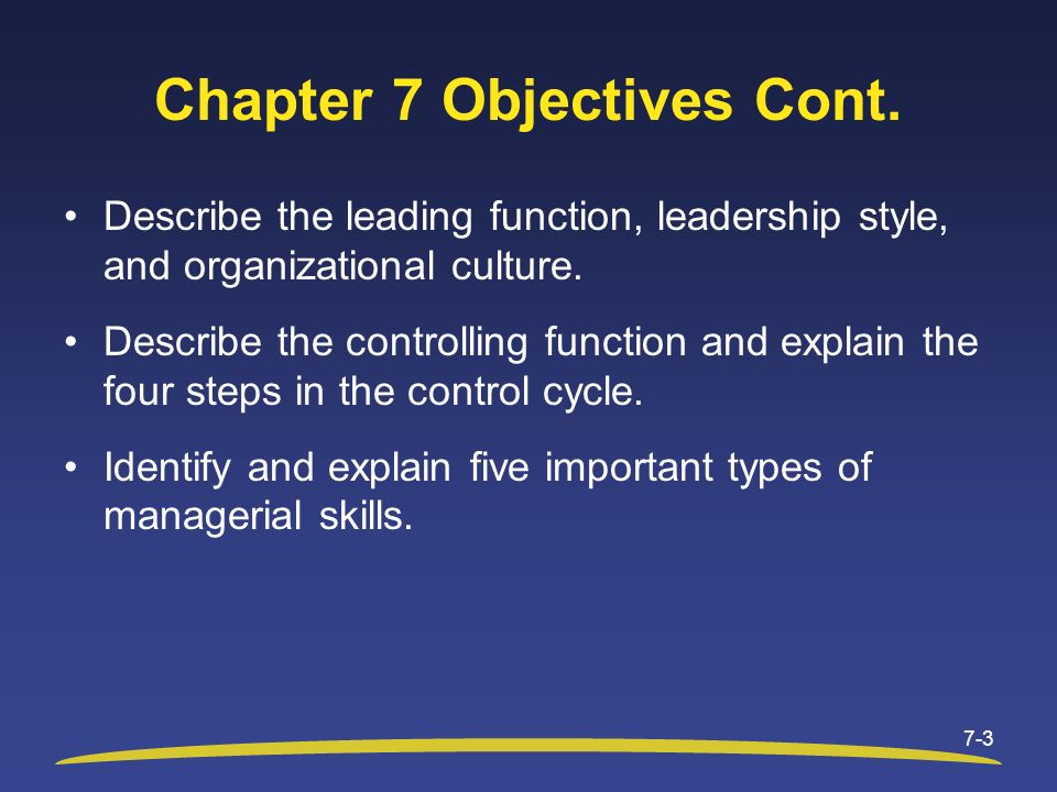 Chapter 7 Objectives Cont. Describe the leading function, leadership style, and organizational culture. Describe the controlling function and explain