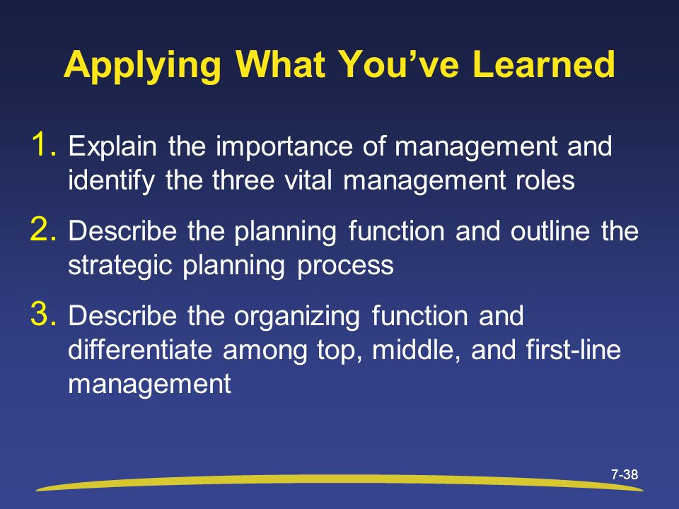 Applying What You've Learned 1. Explain the importance of management and identify the three vital management roles 2. Describe the planning function a