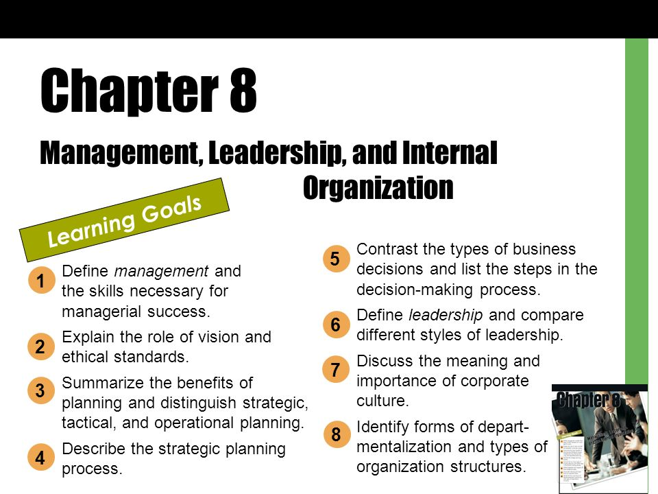 Chapter 8 Management, Leadership, and Internal Organization Learning Goals Define management and the skills necessary for managerial success.