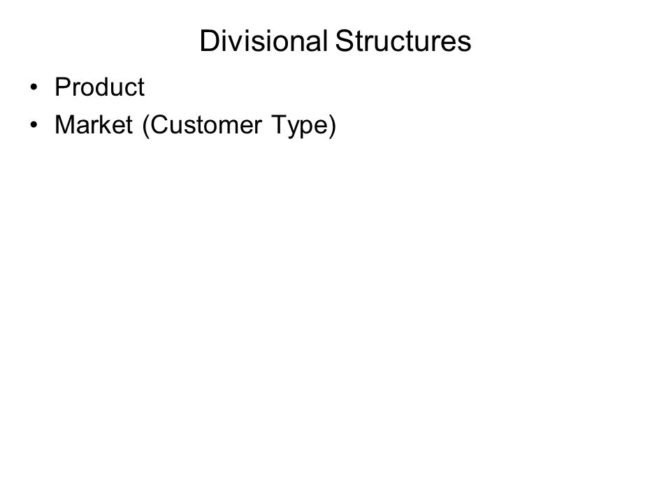 Divisional Structures Product Market (Customer Type)