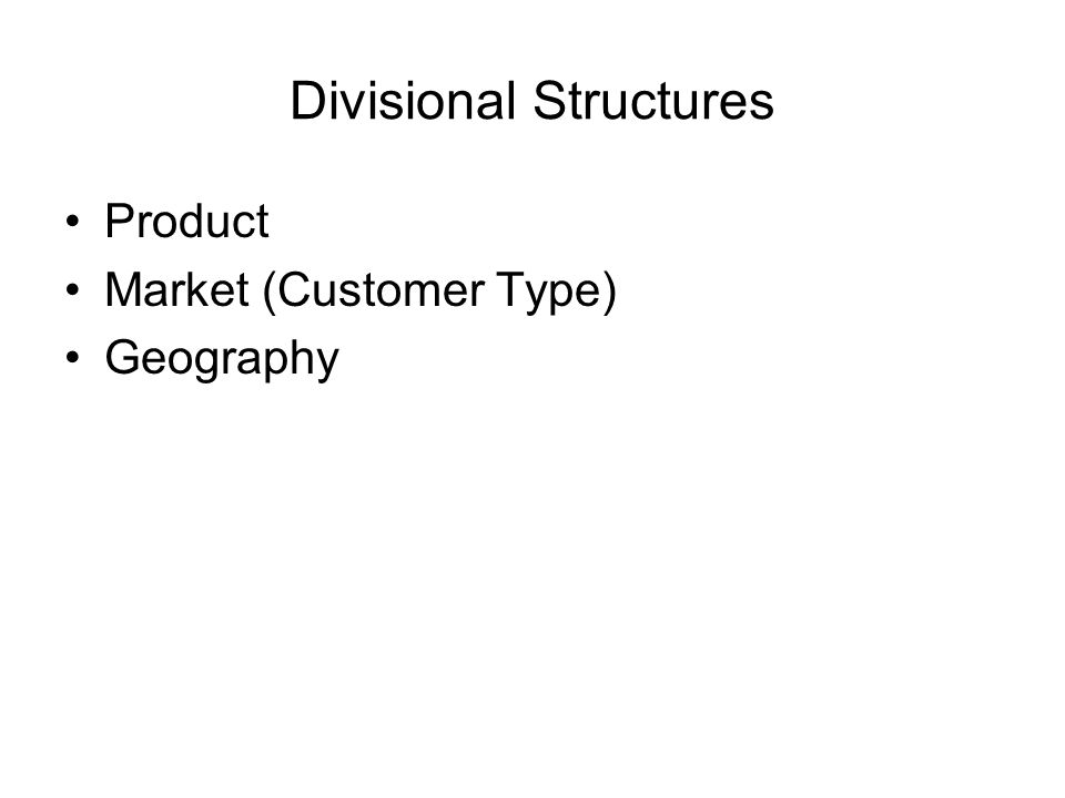 Divisional Structures Product Market (Customer Type) Geography