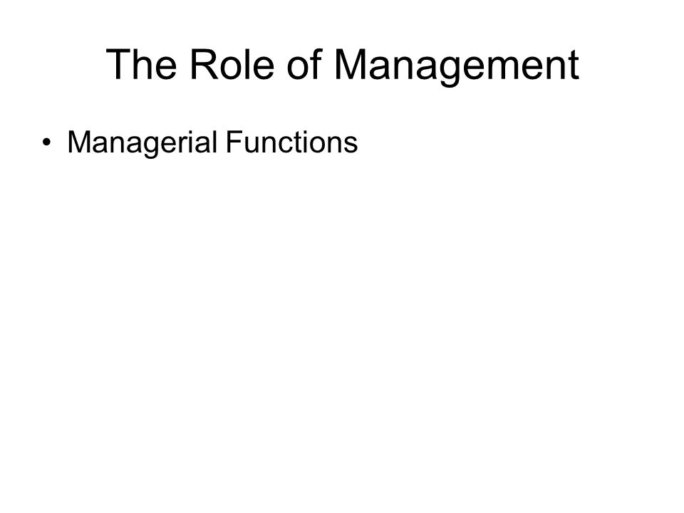 The Role of Management Managerial Functions
