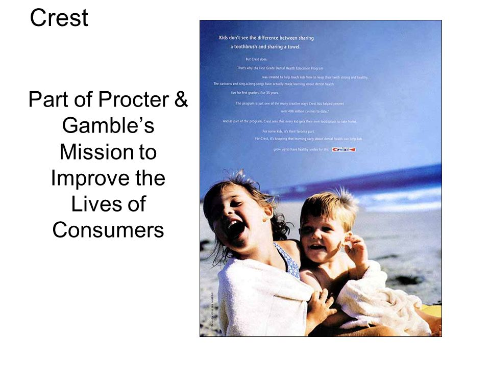 Part of Procter & Gamble's Mission to Improve the Lives of Consumers Crest