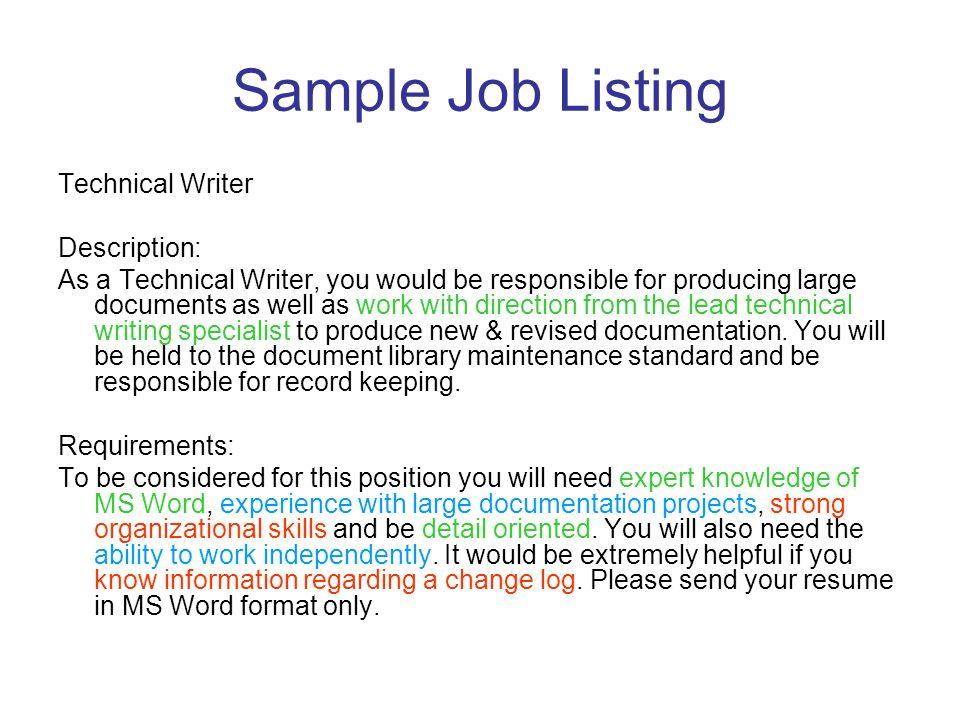 technical writing job description