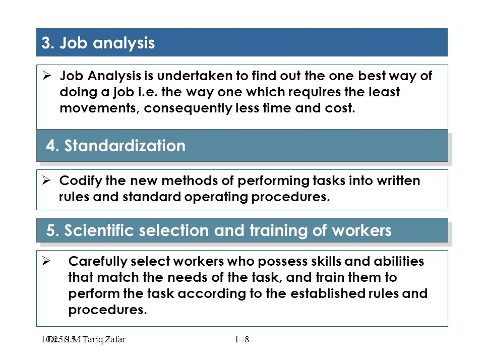 3. Job analysis  Job Analysis is undertaken to find out the one best way of doing a job i.e.