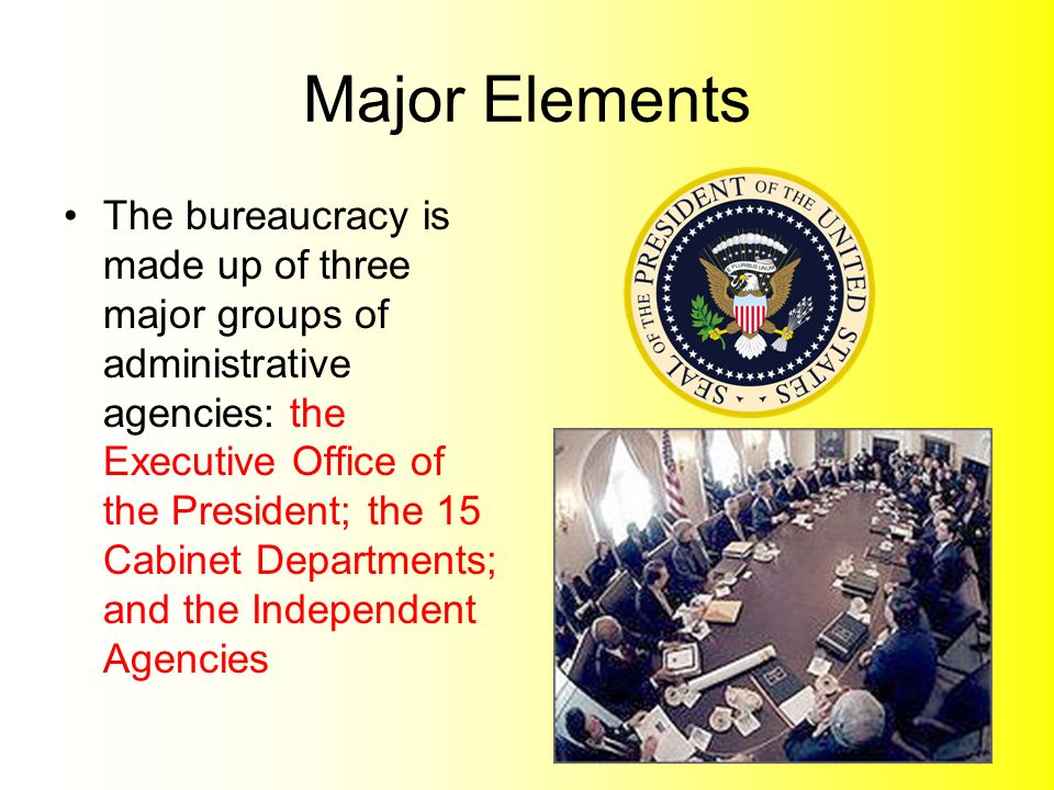 ... Up Of Three Major Groups Of Administrative Agencies: The Executive  Office Of The President; The 15 Cabinet Departments; And The Independent  Agencies