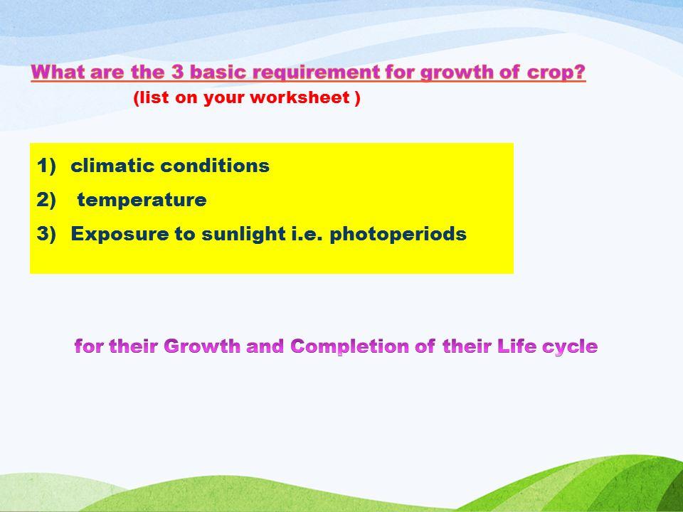 1)climatic conditions 2) temperature 3)Exposure to sunlight i.e.