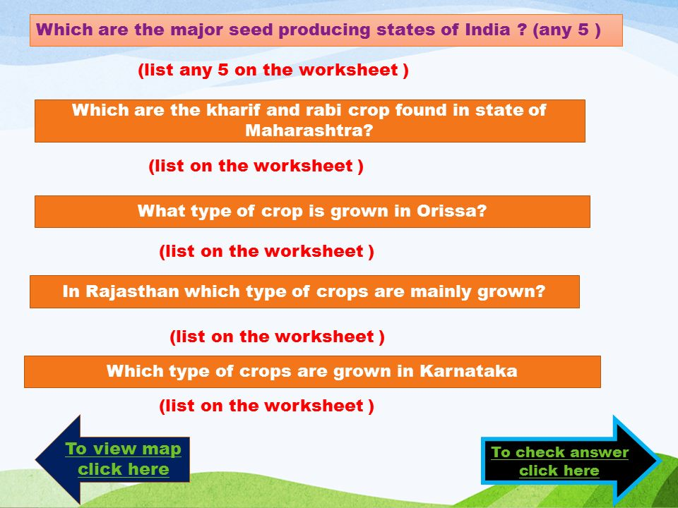 (list any 5 on the worksheet ) Which are the kharif and rabi crop found in state of Maharashtra.