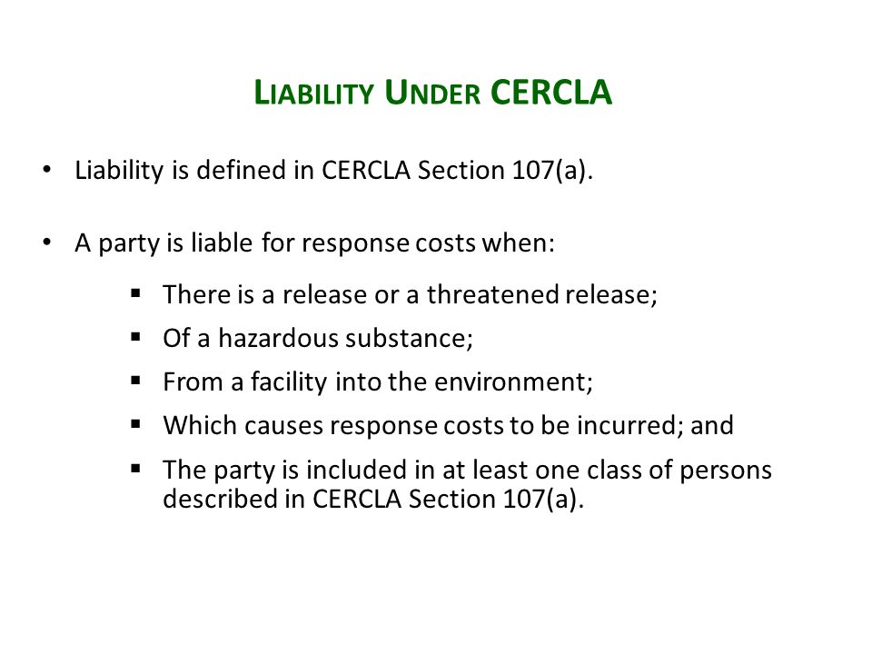 Settling Party Barred from Bringing a CERCLA Section 107(a) Claim ...