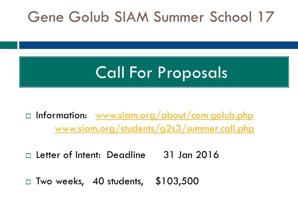 gene golub summer school