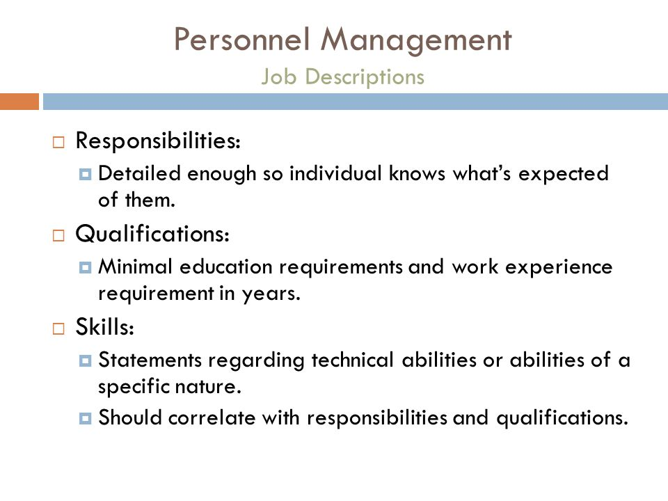 Personnel Management Job Descriptions Responsibilities Detailed Enough So Individual Knows Whats Expected Of