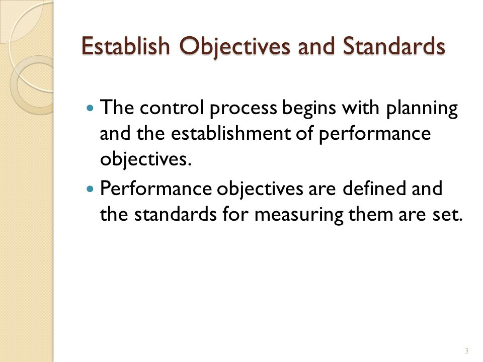 Establish Objectives and Standards The control process begins with planning and the establishment of performance objectives.