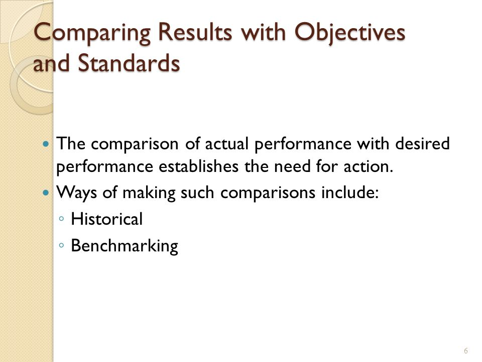 Comparing Results with Objectives and Standards The comparison of actual performance with desired performance establishes the need for action.