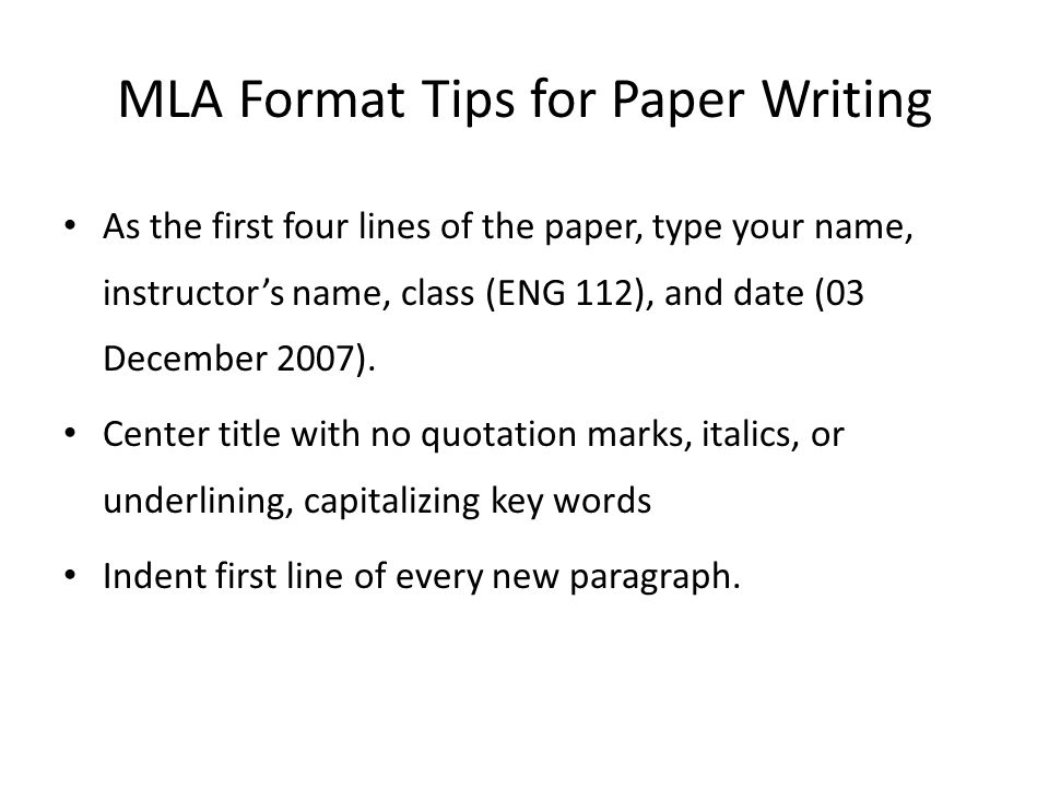 how do you write a paper in mla format