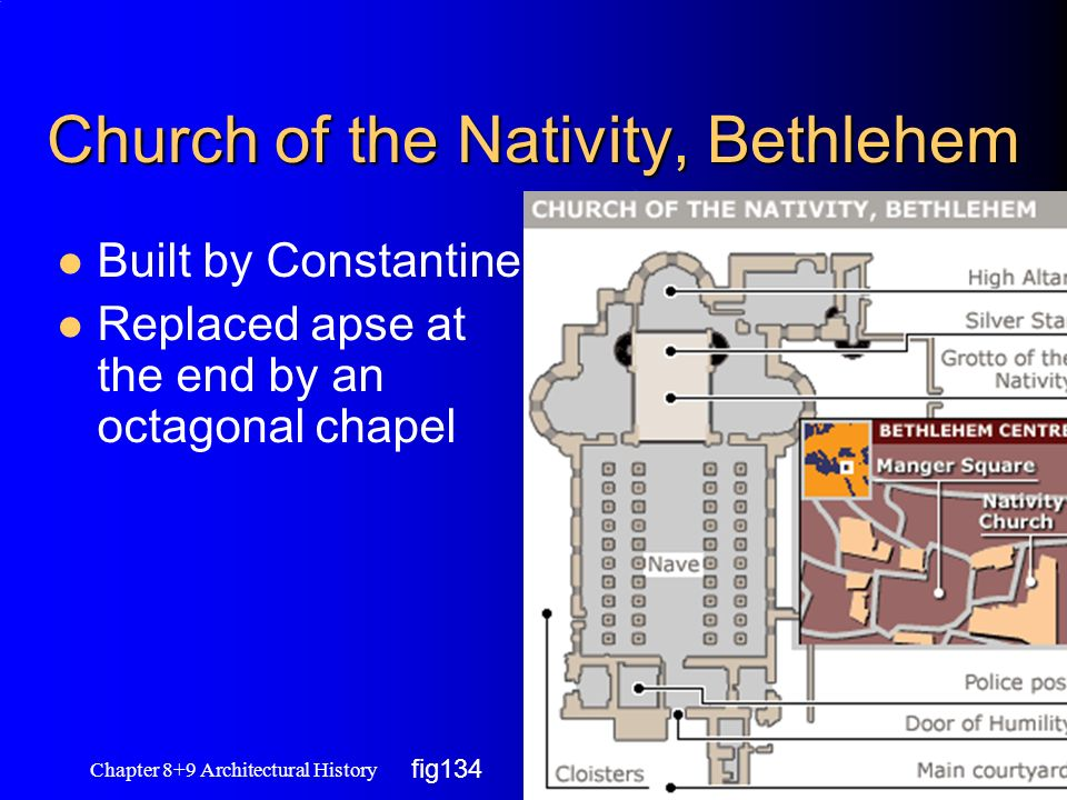 Church of the Nativity, Bethlehem Built by Constantine Replaced apse at the end by an octagonal chapel Chapter 8+9 Architectural History 6 fig134