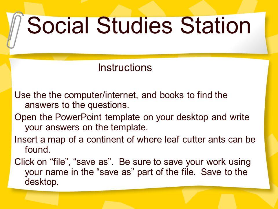 Social studies station instructions use the the computerinternet 1 social studies toneelgroepblik Choice Image