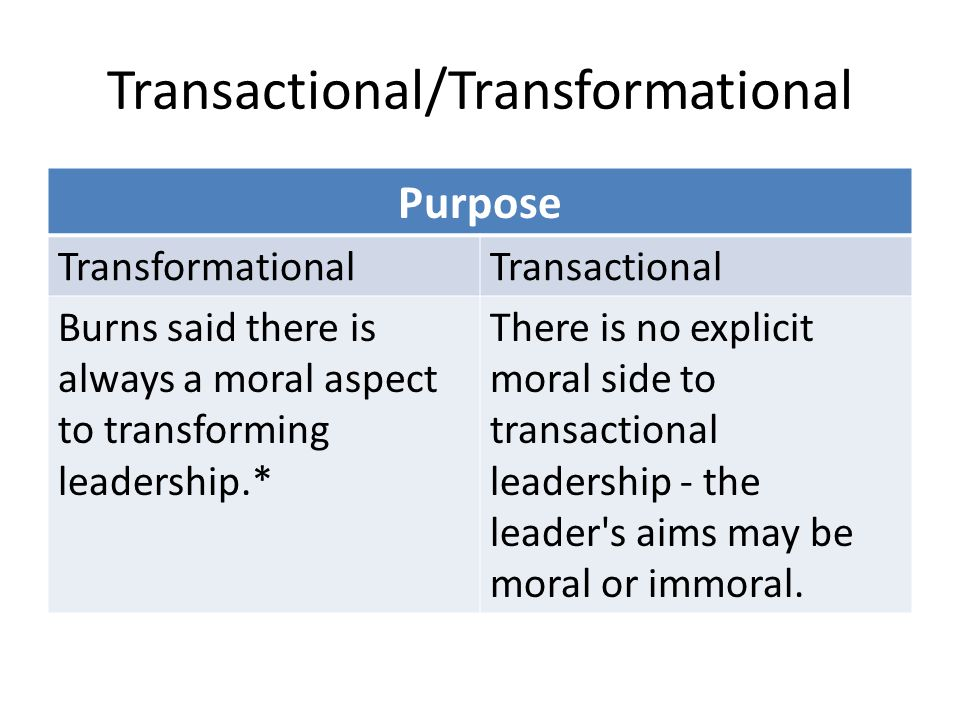 Transactional/Transformational Purpose TransformationalTransactional Burns said there is always a moral aspect to transforming leadership.* There is no explicit moral side to transactional leadership - the leader s aims may be moral or immoral.
