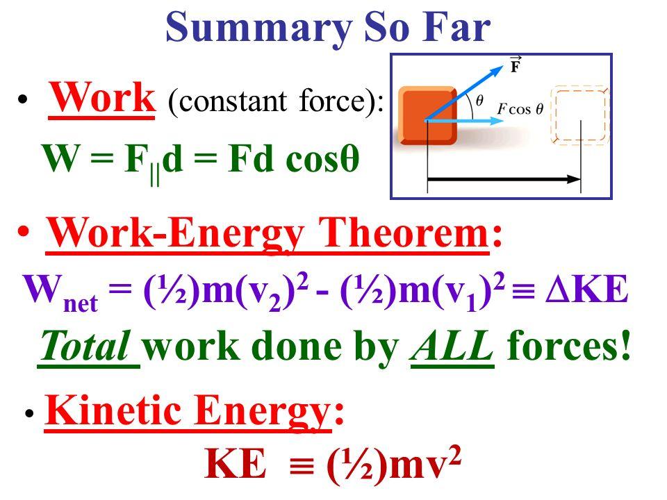 Ch 6 Work Energy Continued Summary So Far WorkEnergy – Work Energy Theorem Worksheet