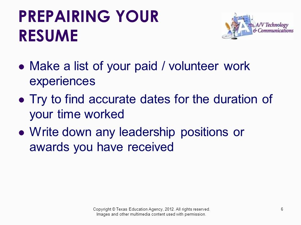 prepairing your resume make a list of your paid volunteer work experiences try to find - Commercial Photographer Resume