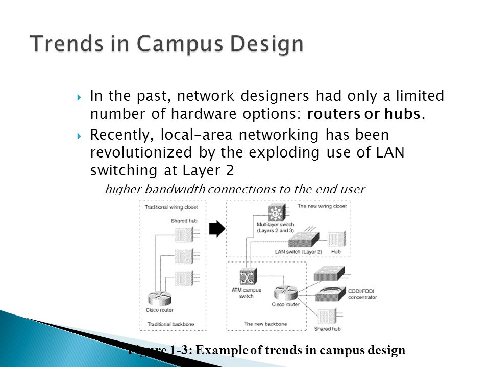  In the past, network designers had only a limited number of hardware options: routers or hubs.