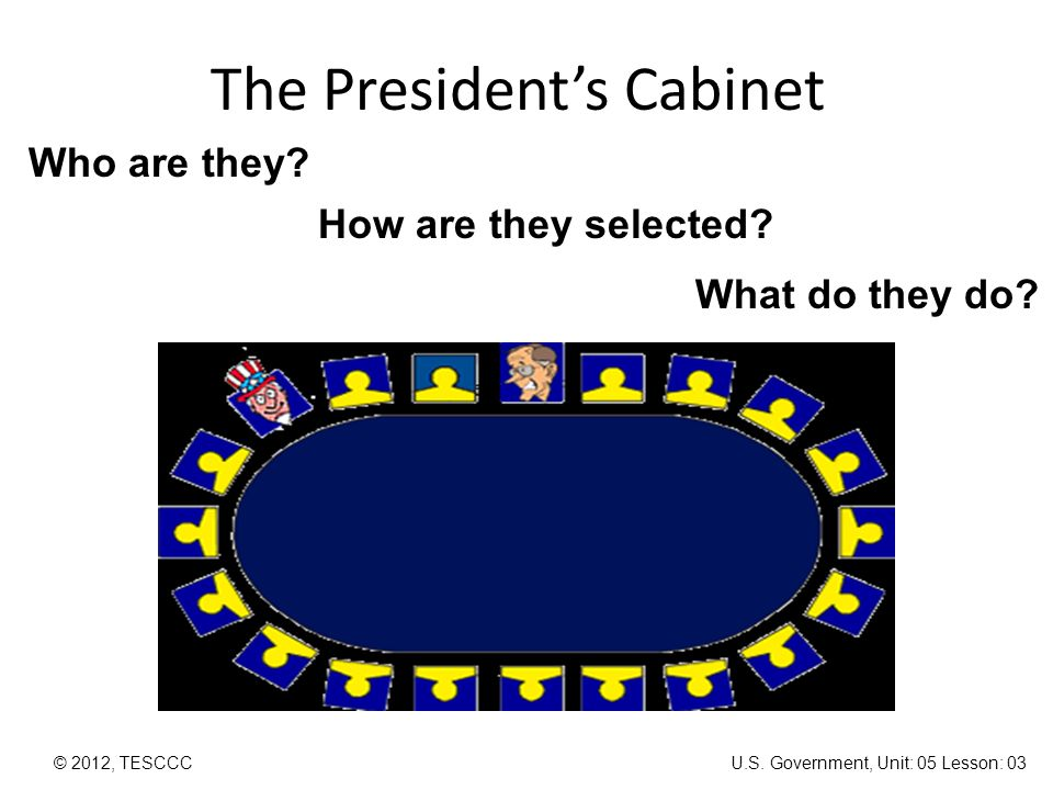 The President's Cabinet © 2012, TESCCC Who are they? How are they ...