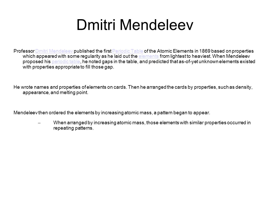Dmitri mendeleev professor dmitri mendeleev published the first dmitri mendeleev professor dmitri mendeleev published the first periodic table of the atomic elements in 1869 gamestrikefo Choice Image