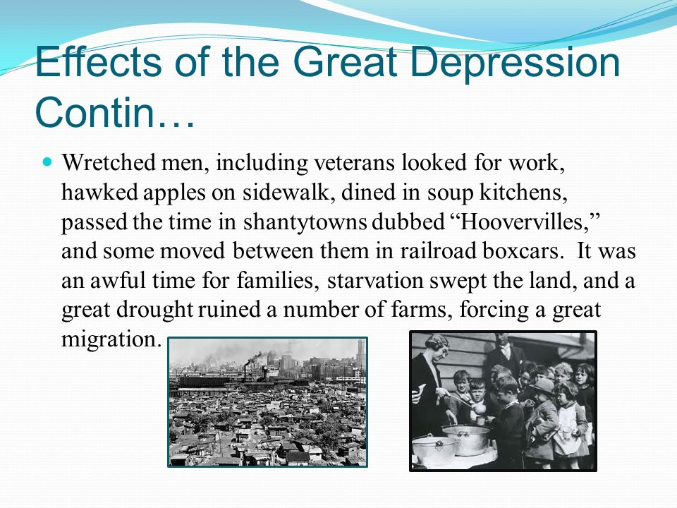 a look at the effects of the great depression The great depression did not affect this put a great deal of stress only after exhausting all alternatives would they reluctantly look to the.