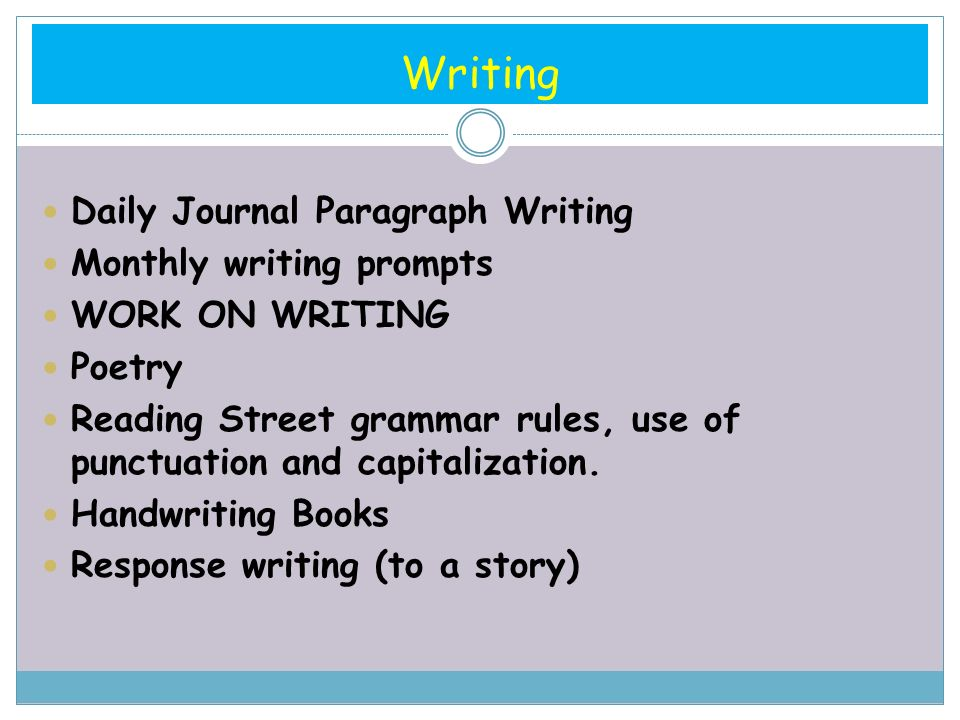 Writing Daily Journal Paragraph Writing Monthly writing prompts WORK ON WRITING Poetry Reading Street grammar rules, use of punctuation and capitalization.