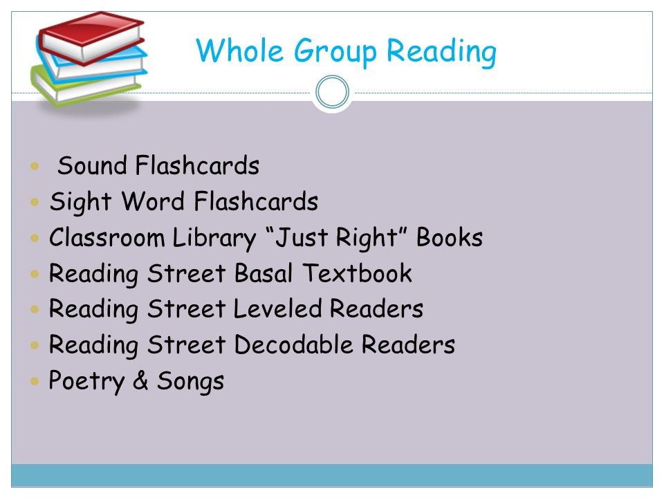 Whole Group Reading Sound Flashcards Sight Word Flashcards Classroom Library Just Right Books Reading Street Basal Textbook Reading Street Leveled Readers Reading Street Decodable Readers Poetry & Songs