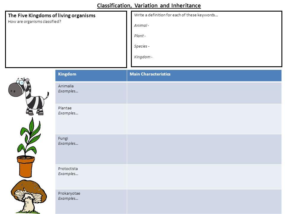 Printable Worksheets five kingdoms of living things worksheets : KingdomMain Characteristics Animalia Examples… Plantae Examples ...