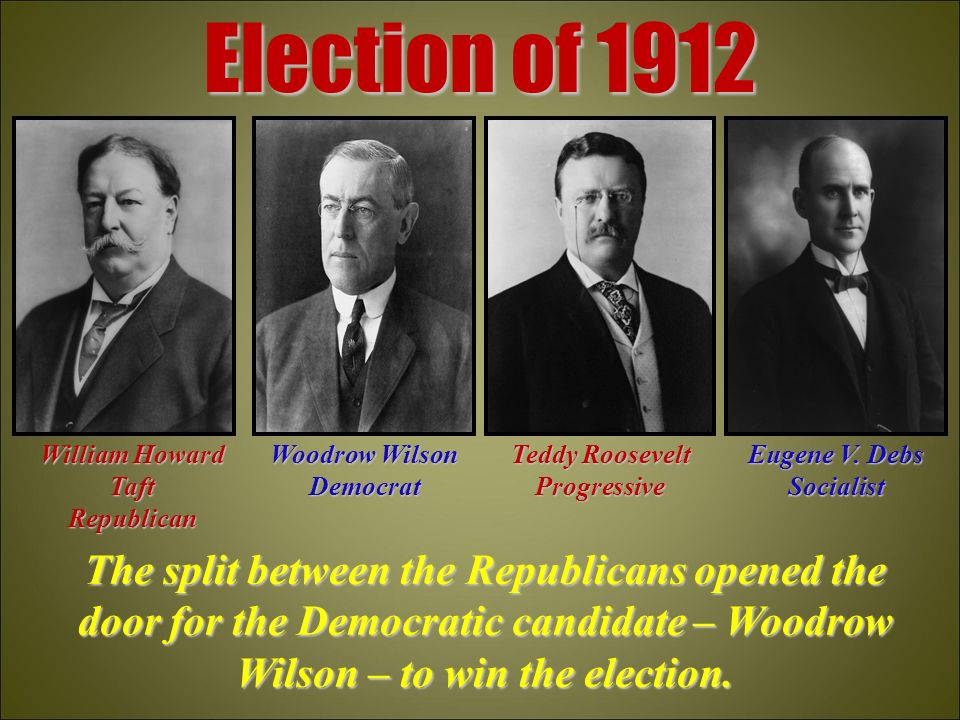 the election of 1912 The united states presidential election of 1912 was one of the most significant elections in american history, due to a split in the republican party for a better understanding, buzzle gives a summary of the significance of the 1912 presidential election.