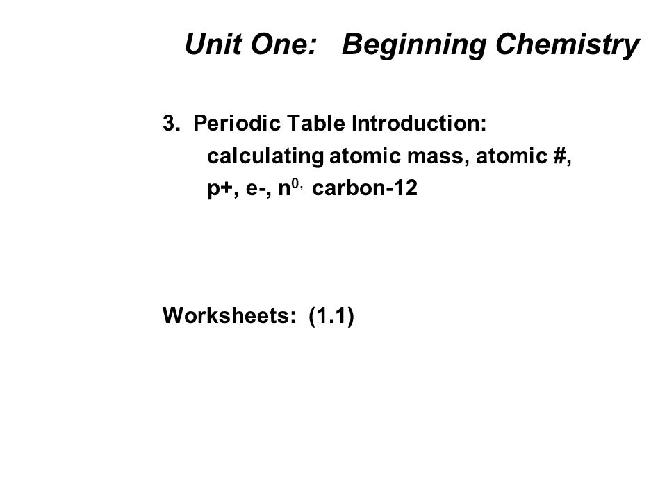 Unit One: Beginning Chemistry 1. Atoms, Elements, Compounds Names ...