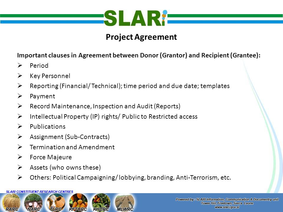 Contract and project administration daniel s fornah project 8 project agreement important clauses pronofoot35fo Image collections