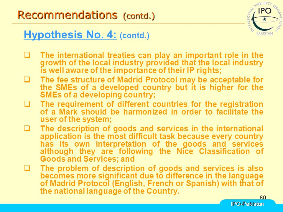 60 Recommendations (contd.) Hypothesis No.