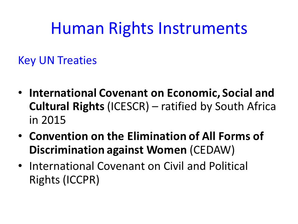 Human Rights Instruments Key UN Treaties International Covenant on Economic, Social and Cultural Rights (ICESCR) – ratified by South Africa in 2015 Convention on the Elimination of All Forms of Discrimination against Women (CEDAW) International Covenant on Civil and Political Rights (ICCPR)