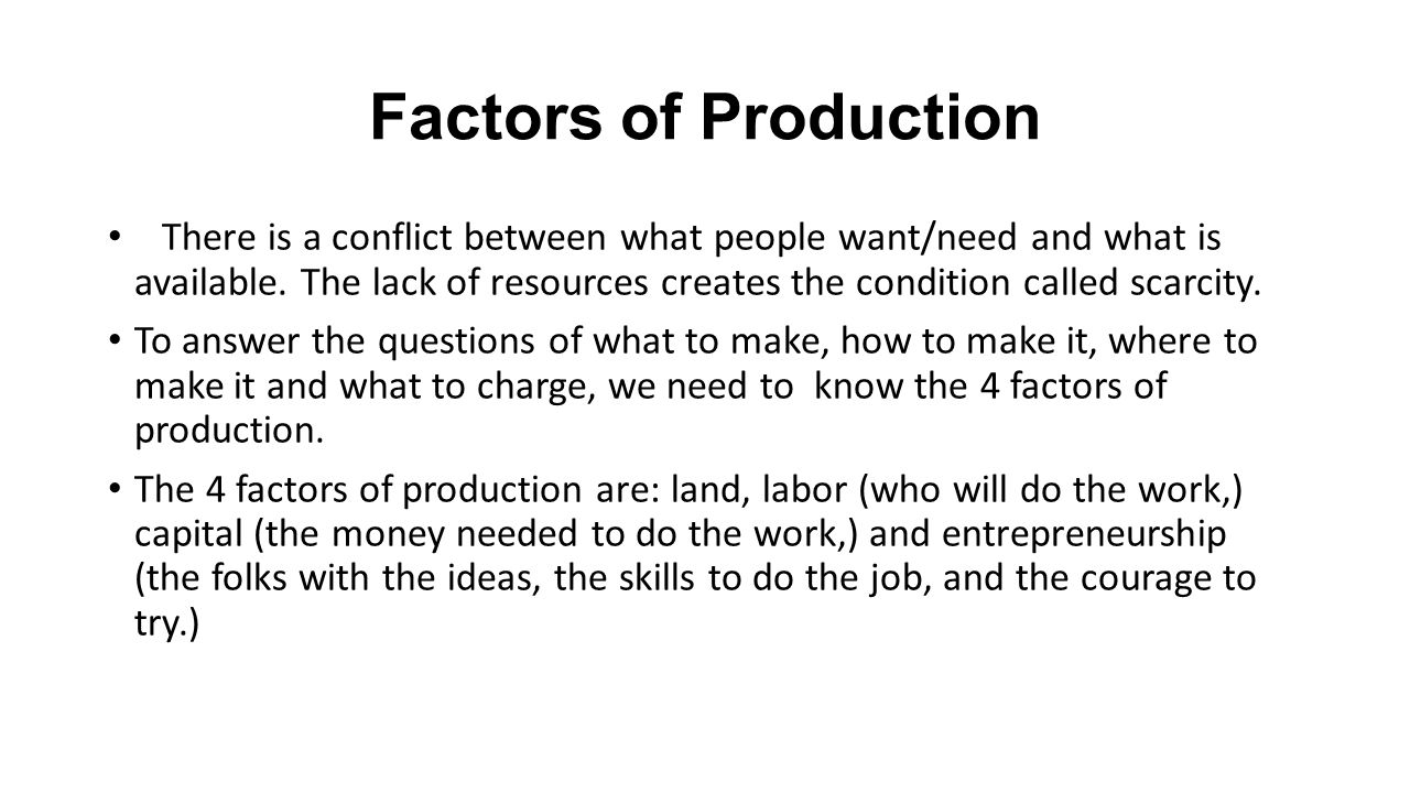 worksheet Scarcity And The Factors Of Production Worksheet Answers free enterprise and market systems factors of production there 2 production