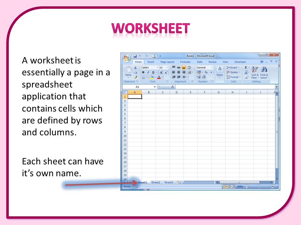 Chapter 4 This presentation covers the following Worksheets – Worksheet Definition Excel