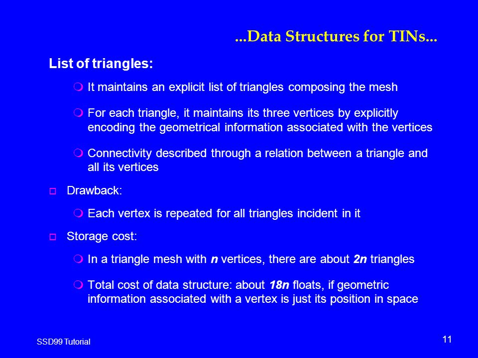 11 SSD99 Tutorial...Data Structures for TINs...