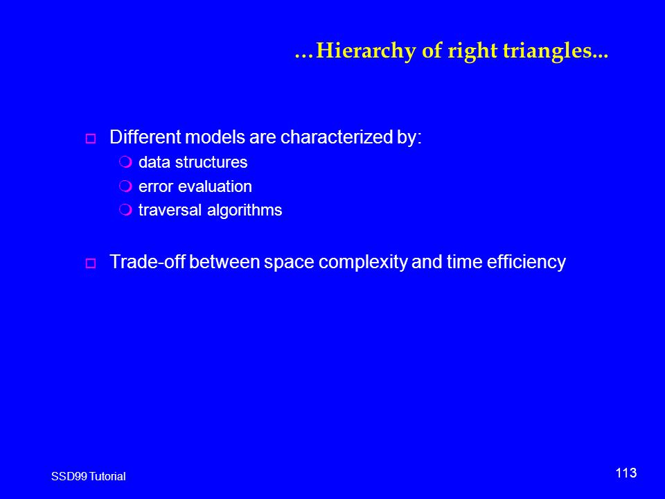 113 SSD99 Tutorial …Hierarchy of right triangles...