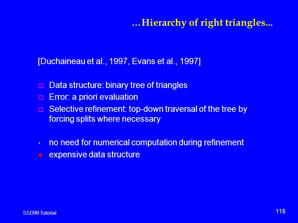 115 SSD99 Tutorial …Hierarchy of right triangles...