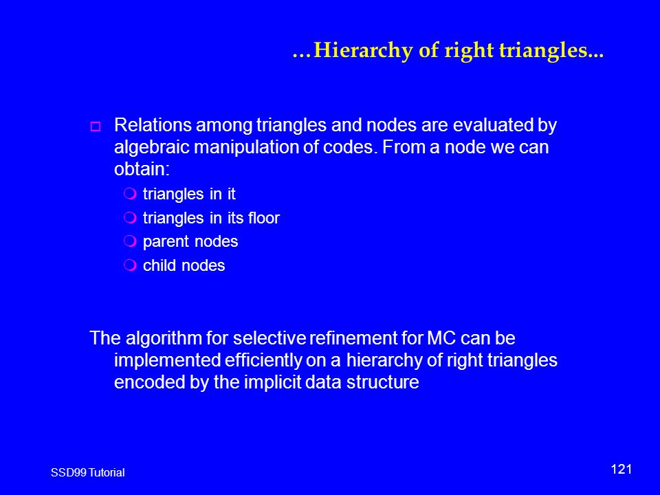 121 SSD99 Tutorial …Hierarchy of right triangles...