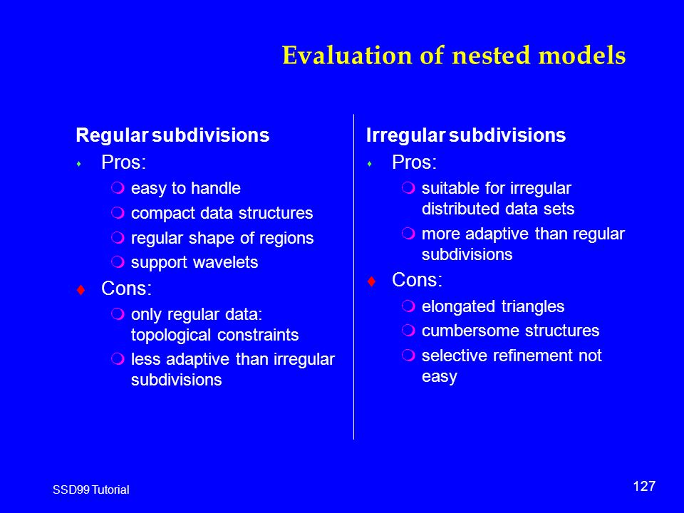 127 SSD99 Tutorial Evaluation of nested models Regular subdivisions s Pros: measy to handle mcompact data structures mregular shape of regions msupport wavelets t Cons: monly regular data: topological constraints mless adaptive than irregular subdivisions Irregular subdivisions s Pros: msuitable for irregular distributed data sets mmore adaptive than regular subdivisions t Cons: melongated triangles mcumbersome structures mselective refinement not easy