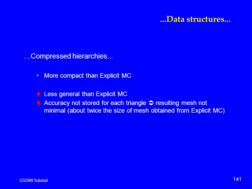 141 SSD99 Tutorial...Data structures... …Compressed hierarchies...