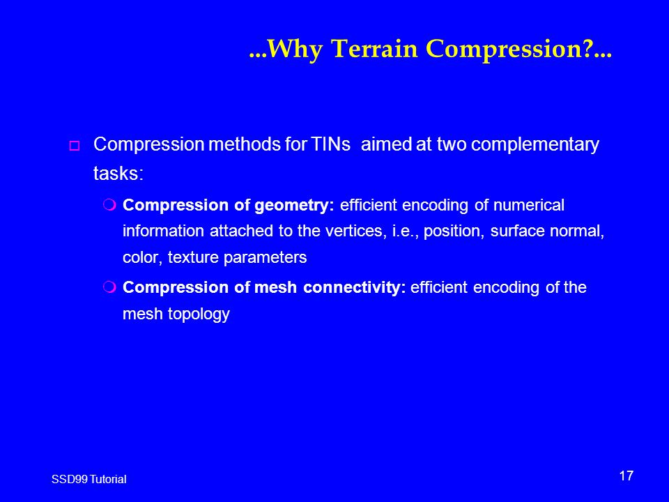 17 SSD99 Tutorial...Why Terrain Compression ...