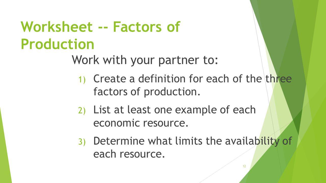 worksheet Factors Of Production Worksheet 1 friday september 11 2015 2014 todays objectives 34 identify 12 worksheet factors of production