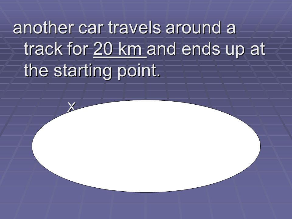 another car travels around a track for 20 km and ends up at the starting point. X