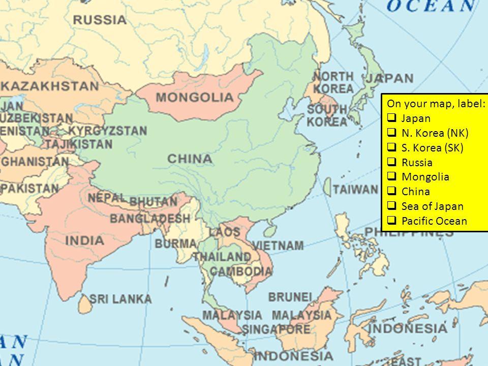 On Your Map Label Japan N Korea NK S Korea SK - Map of japan and korea