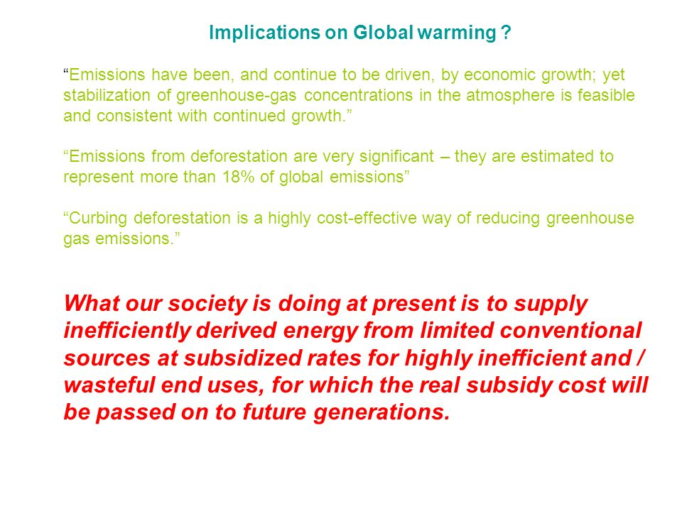 Implications on Global warming .