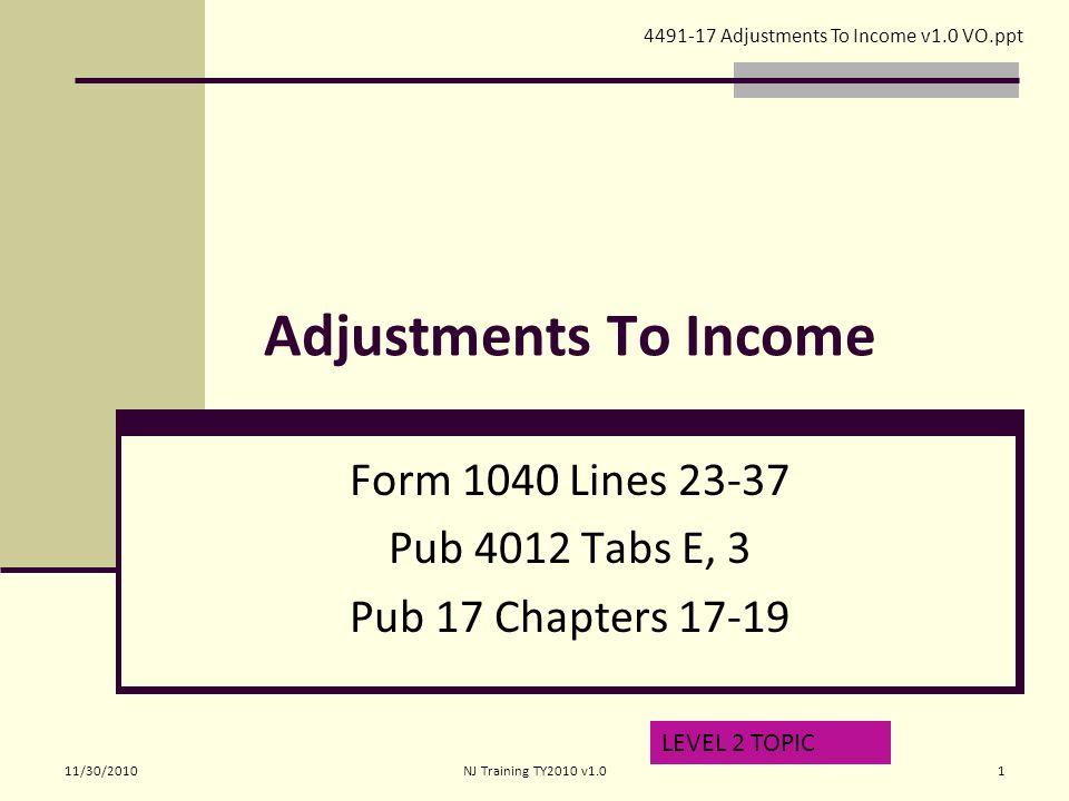 Adjustments To Income Form 1040 Lines Pub 4012 Tabs E 3 Pub 17
